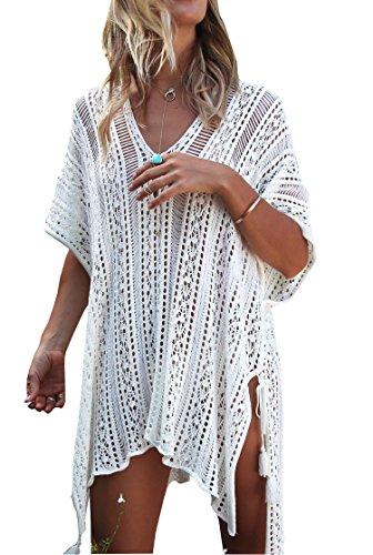Wander Agio Beach Swimsuit for Women Sleeve Coverups Bikini Cover Up Net Slit White