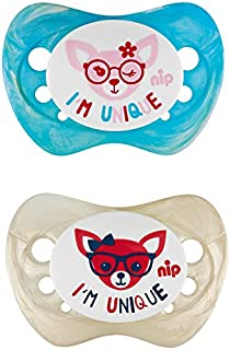 Nip Unique Soother, 0-6 Months, Assorted Colors, Pack of 2