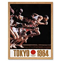 Tokyo Summer Olympics 1964 Sprinters Japan Art Print Framed Poster Wall Decor 12x16 inch 東京夏オリンピック日本ポスター壁デコ
