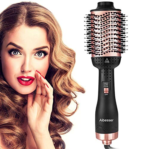 Aibesser Haartrockner, 5 in 1 Upgrade Warmluftbürste Hair Dryer Volumizer Heißluftbürste Negativer Lonic Föhnbürste Lockenwickler Stylingbürsten für Alle Styling(Schwarz Korallrot)