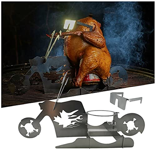 Soporte de pollo portátil - soporte de la barbacoa de la motocicleta, biker pollito de cerveza de cerveza de cerveza, pollo de cerveza para parrilla, parrilla de acero inoxidable, cerveza de pollo