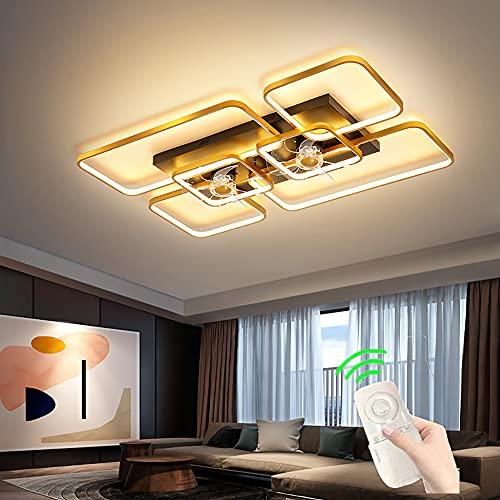 Ventilador de techo sala de estar con Luz Luz de ventilador LED de control remoto regulable Lámpara de techo moderna con ventilador dorado silencioso para dormitorio Infantil Dormitorio 3 velocidades