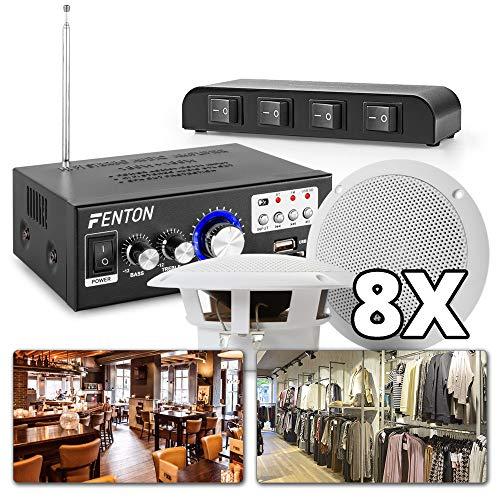 Geluidsinstallatie 4-zones met Bluetooth en 8 luidsprekers voor restaurant, winkel, etc.