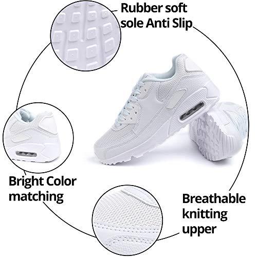 Zapatillas de Deportivas Mujer Zapatos Correr Hombre Running Casual Sneakers Cordones Colchón de Aire Ligero Respirable Calzado Blanco 43