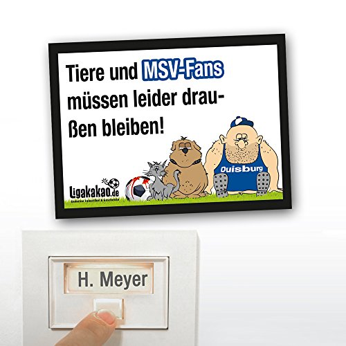 Klingel Abwehr-Schild vor Duisburg-Fans | Achtung RWE-, Fortuna Düsseldorf- & alle Fußball-Fans, Dieses witzige Haus-Tür-Schild sorgt für klare Verhältnisse