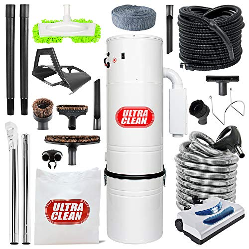 Canadian Made Central Vacuum Ultra Clean Unit 7,500 sq. ft. 30' Electric Hose/Powerhead Attachemnets, Garage Kit