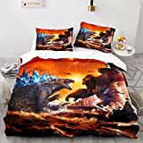 MIRacing 3D Godzilla vs King Kong Bedding Duvet Cover Bed Sets Full Size 3 Pieces King of The Monsters Comforter Cover for Boys Girls, 1 Bed Cover 2 Pillowcase