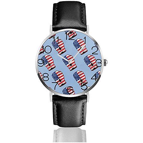 Uhr Armbanduhr USA Flag Boxhandschuh Classic Casual Quarz Schwarz Leder Armbanduhr