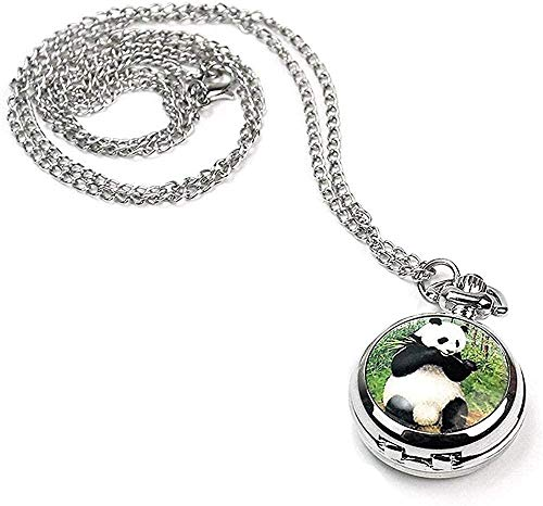Mujeres Niñas Panda Locket Colgante Reloj de Bolsillo de Cuarzo Collar Cadena Tono Plateado Elegante y Popular