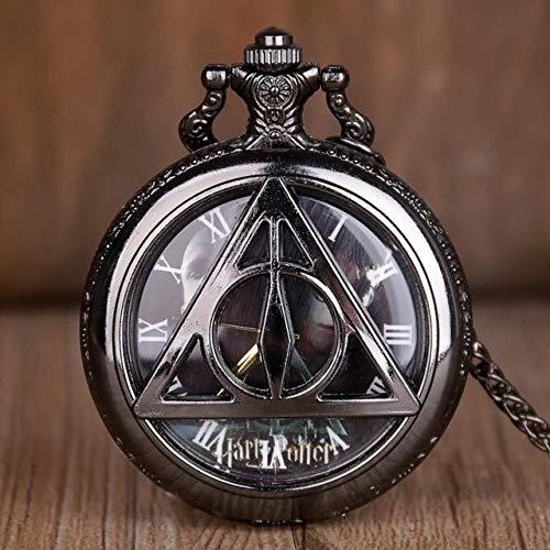 FFHJHJ Reloj de Bolsillo de Cuarzo Hueco de Star Wars Retro, RelojColganteVintagecon Cadena, película de Marvel, Regalo para Hombres y niños, Harry Potter