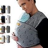 Kleiner Held Babytragetuch - elastisches Baby Tragetuch - Babytragetuch für Früh- und Neugeborene Babys ab Geburt bis 18 kg inkl. Wickelanleitung und Aufbewahrungstasche - Farbe grau Anker