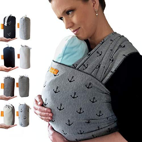 Kleiner Held® Babytragetuch - elastisches Baby Tragetuch - Babytragetuch für Früh- und Neugeborene Babys ab Geburt bis 18 kg inkl. Wickelanleitung und Aufbewahrungstasche - Farbe grau Anker