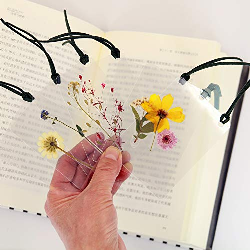 Bookmarks Pretty Dried Flowers Plants Christian Cute Floral Artistic Novelty Transparent Minimalistic for Women Girly Adult Kids (Set of 7)