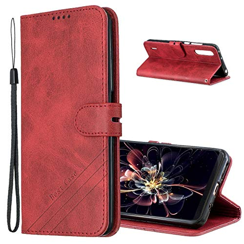 MRSTER Funda para Xiaomi Mi A3, Simple y Elegante Funda Protector Carcasa PU Leather con TPU Silicona Case Interna Suave para Xiaomi Mi A3 / Xiaomi Mi CC9e Smartphone. Retro Red