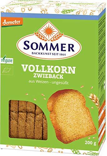 Sommer & Co. Bio Demeter Weizen-Vollkorn Zwieback, vegan (6 x 200 gr)