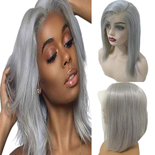 13x6 Lace Front Wig Grey Wigs for Black Women Grey Bob Cut Short Straight Human Hair Pre Plucked For Black Women 150% Density Remy Brazilian Deep Part Lace Front Wigs (10inch,Grey)