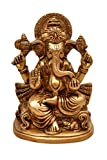 Aesthetic Decors Ganesh Sitting On Chair Showpiece - 13.5 cm (Brass, Gold)