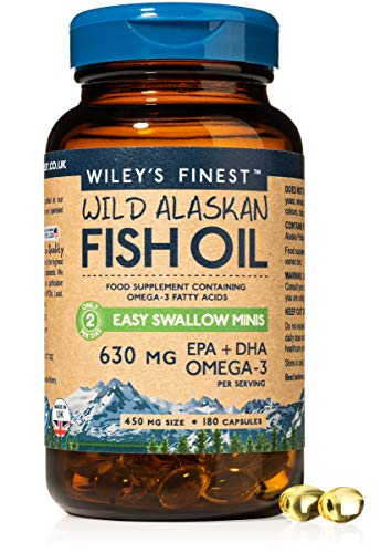 Wiley's Finest Easy Swallow Minis 630mg EPA + DHA Omega-3 Natural Wild Alaskan Fish Oil Food Supplement 180 Capsules