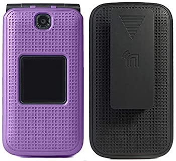 Case with Clip for Alcatel Go Flip V [Purple] Snap-On Cover with [Rotating/Ratchet] Belt Hip Holster Combo for Alcatel Go Flip MyFlip 4G QuickFlip AT&T Cingular Flip 2  A405DL 4051s 4044 A405
