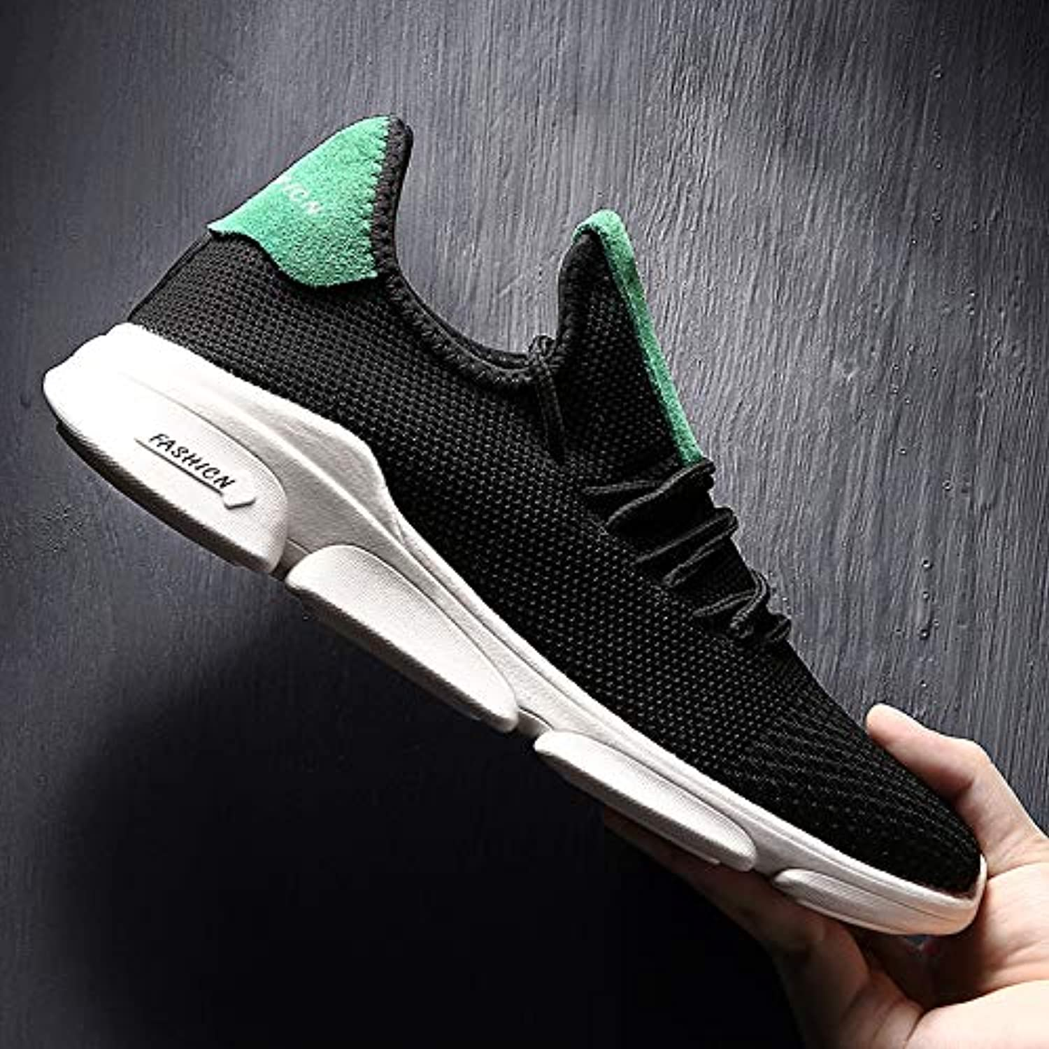 LOVDRAM Men'S shoes Flying Woven Casual Sports shoes Men'S Breathable Running shoes Street Fashion Large Size Men'S shoes