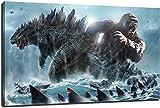 LIYIMING Wall Art Godzilla vs King Kong Poster Leinwand