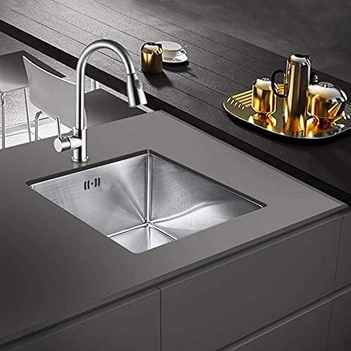 WQF Lavello da Cucina, lavello da Cucina con profondit脿 22 cm, lavello da Cucina in Acciaio Inox a Vasca Singola 45x40 cm per Installazione sopra e sottotop