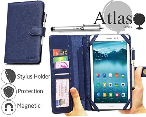 Navitech Blau 7 Zoll bycast Leder Folio Case/Cover/Hülle mit Stylus für das Huawei Mediapad T1 7.0