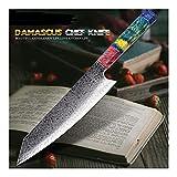 Knife Cuchillo De Cocinero 67 Las Capas Japonesa Damasco Acero De Damasco Del Cuchillo Del Cocinero De 8 Pulgadas Cuchillo De Cocina De Damasco Solidificadas De Madera De Alta Definición