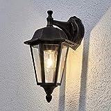 Lindby Wandleuchte außen 'Lamina' (spritzwassergeschützt) (Retro, Vintage, Antik) in Braun aus Aluminium (1 flammig, E27, A++) - Außenwandleuchten, Wandlampe, Led Außenlampe, Outdoor Wandlampe für