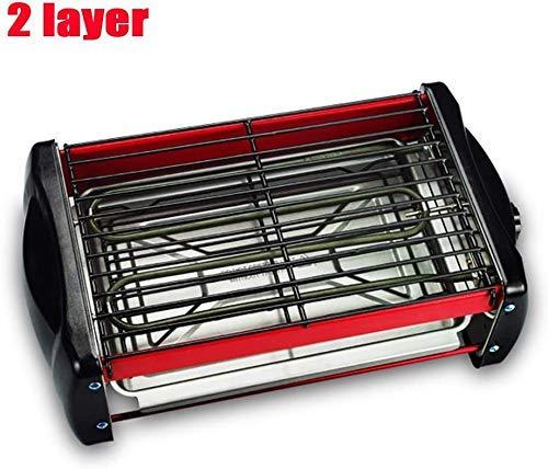 Double couche électrique d'intérieur sans fumée électrique-Griddles avec 2 Net antiadhésifs, ajustable Contrôle de la chaleur graisse Vermont Casting Extra Large 2 Surface 27X17cm, Barbecue BBQ portab