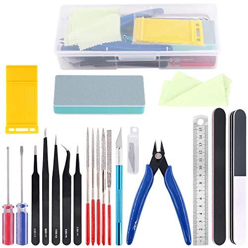 Rustark 21Pcs Modeler Basic Tools Craft Set Hobby Building Tools Kit for Gundam Car Model Building