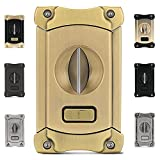 CiTree Cigar Cutter, Stainless Steel V-Cut Cigar Cutter with Build-in Cigar Puncher, Attractive Gift Box (Gold)