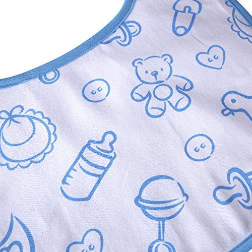 大人用ビブ よだれかけ 介護用 コットン+防水シート 2層仕立て 2枚セット 青 ピンクの乳首瓶柄