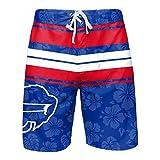 FOCO Buffalo Bills NFL Mens Hibiscus Boardwalk Stripe Boardshorts - XL