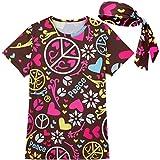 COSAVOROCK Femme 60s 70s Costume de Hippy Flower Power T-Shirts avec Bandeaux Marron 4XL