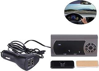 YOUNICER Auto Digitaluhr Thermometer Autozubeh/ör Innendekoration Auto elektronische Uhr Spannung Meter