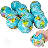 Kicko World Map Stress Ball, 12 Globe Earth Stress Squeeze Ball - 3 Inches - Novelty Toys, Party Favor, Bag Stuffer