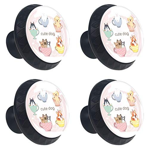 Tiradores de cajones lindo perro taza de té Perillas de gabinete, paquete de 4 perillas de vidrio para guardarropa, paquete de 4 3.5×2.8CM