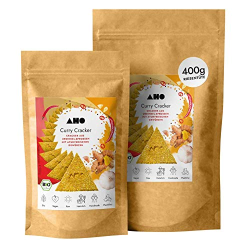 AHO Curry Cracker aus Bio Urdinkel-Sprossen 400g | Rohkostcracker aus gekeimtem Urgetreide aus deutschem Bio-Anbau | Superfood Sprossencracker | 100% Bio, Vegan, Raw | Plastikfrei verpackt (400g)