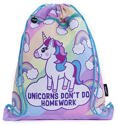 FRINGOO Kids Drawstring Bag with Front Zipped Pocket PE Kit Bag School Backpack (L:34cm*H:42,5cm, Unicorn Homework)