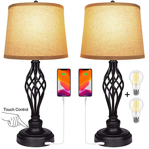 Set of 2 Touch Control 3-Way Dimmable Table Lamp Nightstand Lamp with USB Port AC Outlet Bedside Desk Lamp with Fabric Shade for Living Room Bedroom, Daylight White Bulbs Included