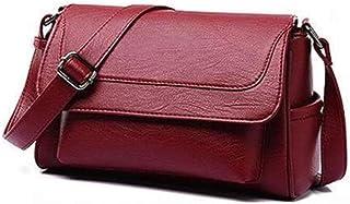 Simple shoulder bag, temperament diagonal bag, pu handbag, soft leather bag, large-capacity out-of-street item, retro red female bag (Color : Red, Size : One size)