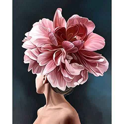 Kits de pintura DIY por números, figura de niña de flores, pinturas al óleo, arte de pared para el hogar, imagen por números, regalo A5 50x70cm