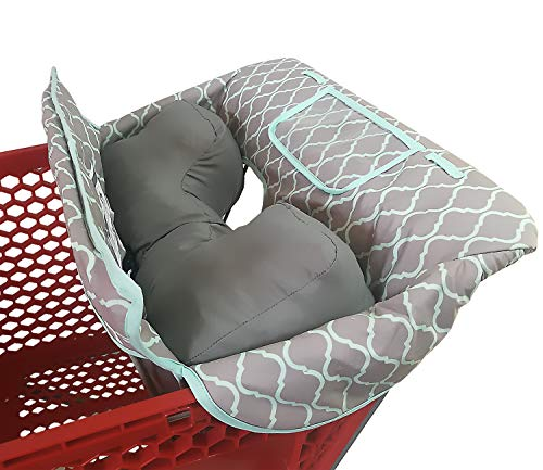 Soft Pillow Attached 2-in-1 Shopping Cart and High Chair Cover for Baby~Padded~Fold'n Roll Style~Portable with Free Carry Bag (Grid)