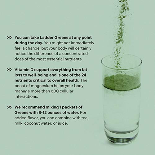 LADDER Sport Superfood Greens - Spirulina, Matcha, Vitamin D, Magnesium, Rhodiola, Zinc, Sugar-Free, Soy-Free, Vegan, 15 On-The-Go Packets, NSF Certified for Sport