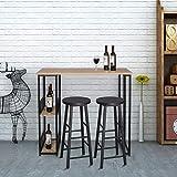 WOLTU BT27dc Tavolo da Bar Alto con Mensole Bancone da Casa in Metallo e Legno Faggio Scuro