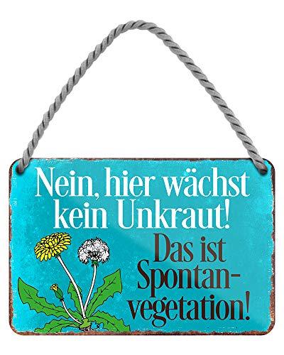Das ist Spontanvegetation - witziges Metallschild mit Kordel und Saugnapf - lustiges Retro Deko Hängeschild - Dekoration für Balkon Terrasse Garten Schrebergarten Haustür - 18x12cm