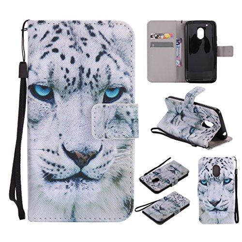 Nancen Motorola Moto G4 Play (5 Zoll) Hülle/Handyhülle, Painted Tier PU Leder Tasche Schutzhülle Case Lederhülle Flip Cover mit Standfunktion [Weiß Leopard]