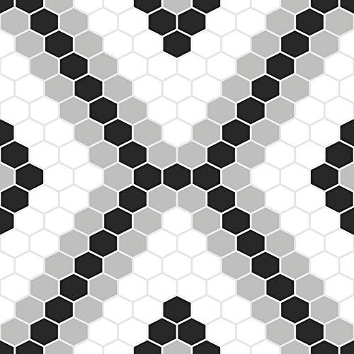 FloorPops FP2950 Leyton Peel & Stick Floor Tile, Black, 10 Sq Ft