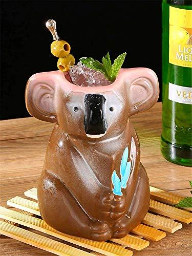 Tiki Mugs-Taza de cerámica hawaiana para cócteles, tazas de cerámica hawaiana, vasos de cóctel exóticos, tiki bar, fiesta hawaiana, 750 ml (marrón)